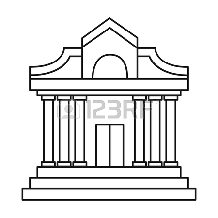 Museum Building Icon In Outline Style Isolated On White Background.