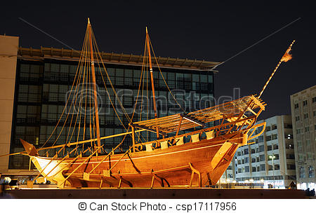 Stock Images of old boat on display near fahidi fort at Dubai.
