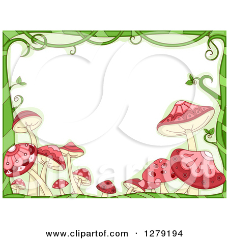 Clipart of a Border of Red Mushrooms and Trees.