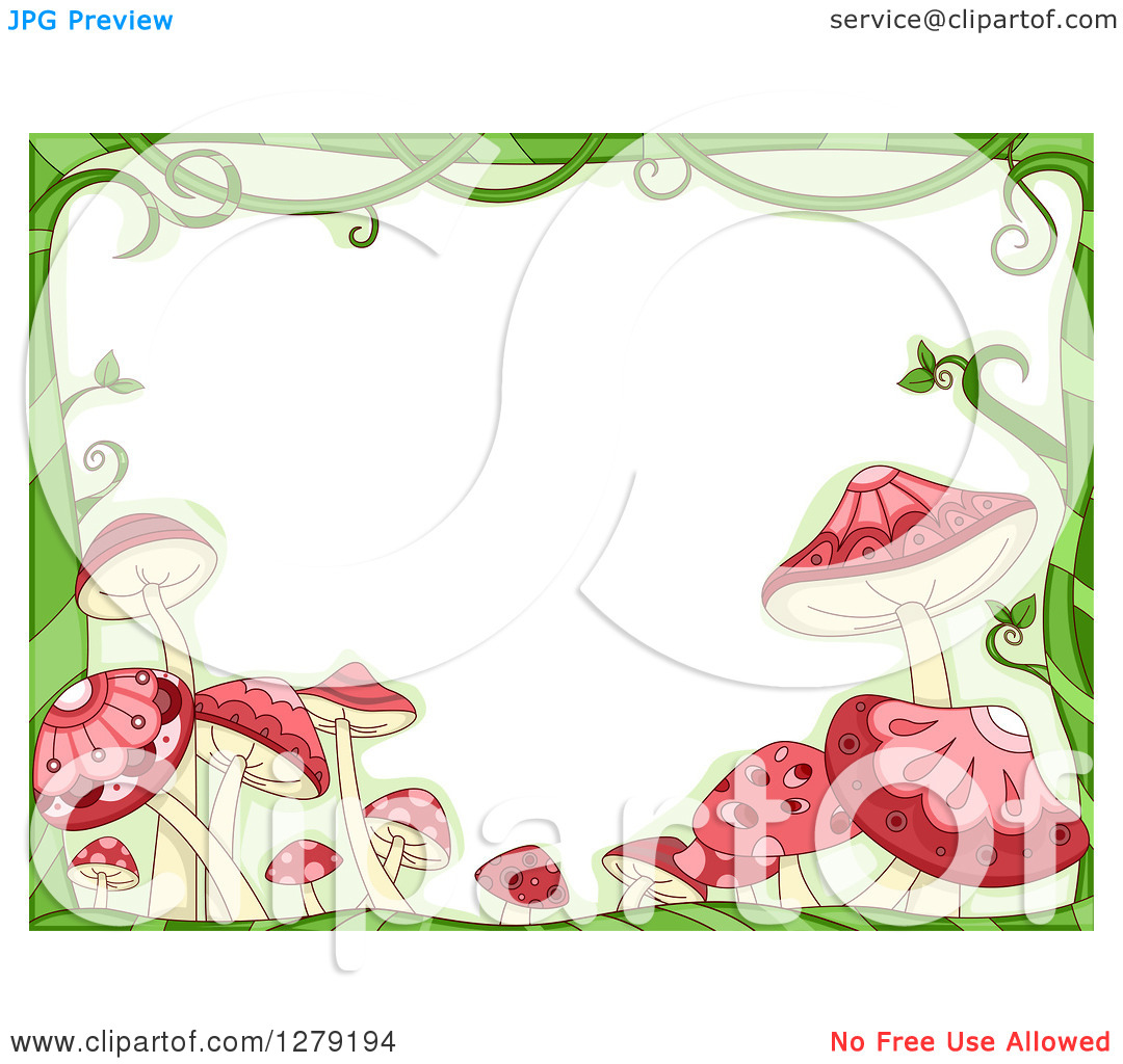 Clipart of a Green Vine and Pink Mushroom Border Around Text Space.
