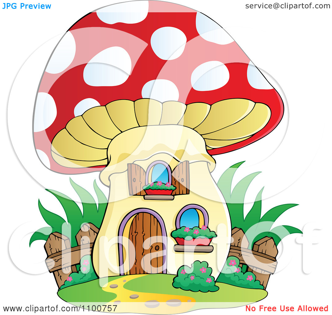 Clipart Mushroom House With A Wooden Fence.