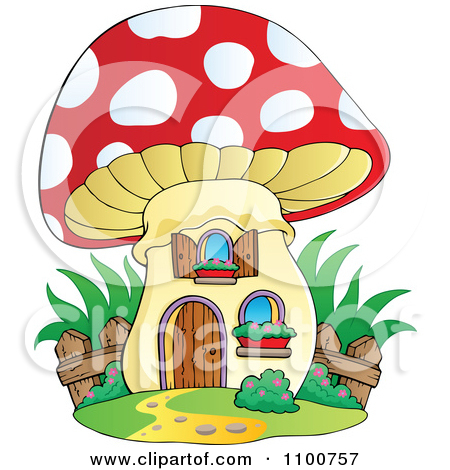 Clipart Outlined Mushroom House With A Wooden Fence.