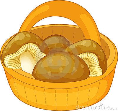 Mushroom On Basket Cartoon Stock Photo.