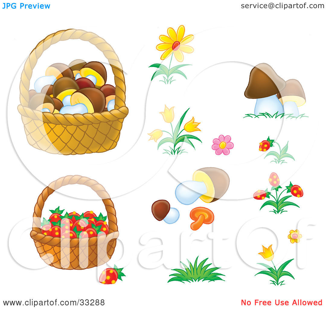 Clipart Illustration of Baskets Of Mushrooms And Strawberries With.