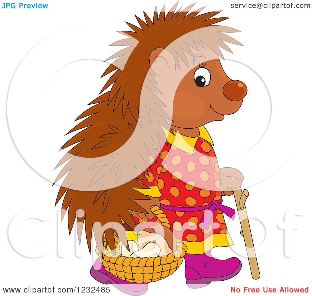 Clipart of a Female Hedgehog with a Basket of Mushrooms.