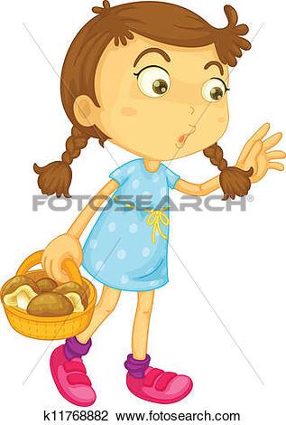 Clipart of a girl carrying mushroom basket k11768882.