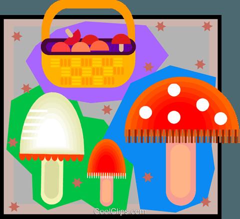 mushrooms, mushroom basket Royalty Free Vector Clip Art.