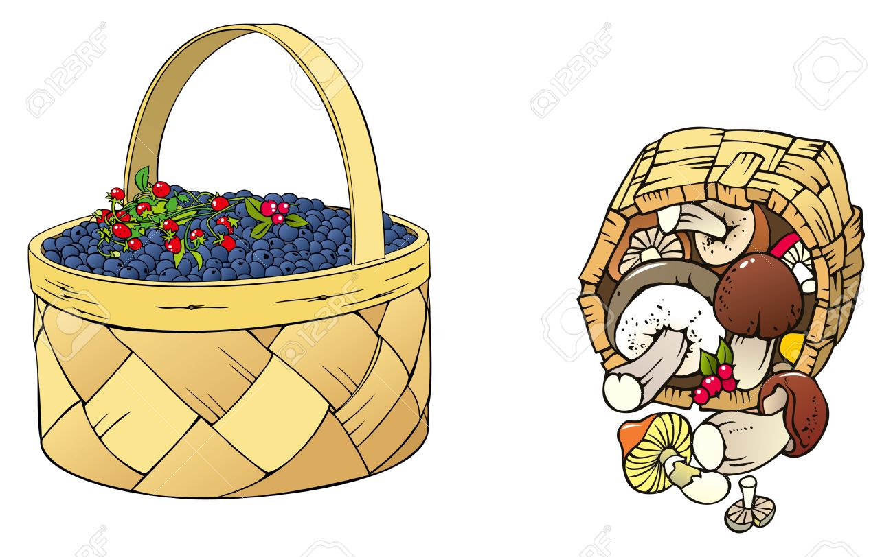 Forest Harvest Berries And Mushrooms In The Basket Royalty Free.