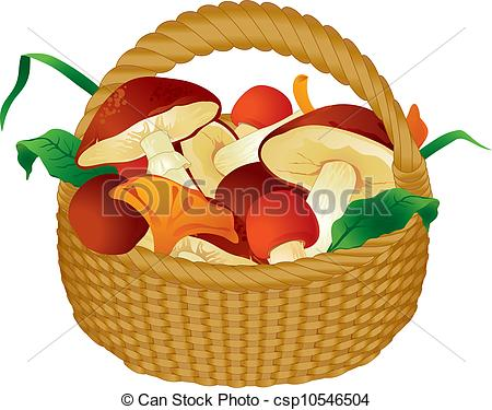 Vector Clipart of Basket of mushrooms csp10546504.