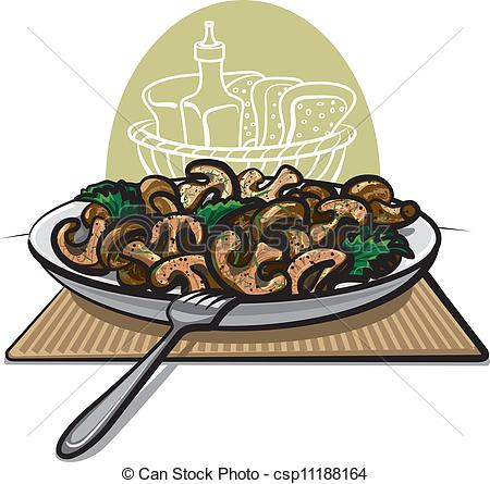 Clip Art Vector of fresh fried mushrooms.