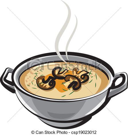 Vector Clip Art of soup with mushrooms csp19023012.