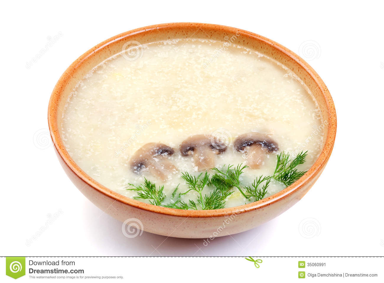 Mushroom Soup With Dill Stock Image.