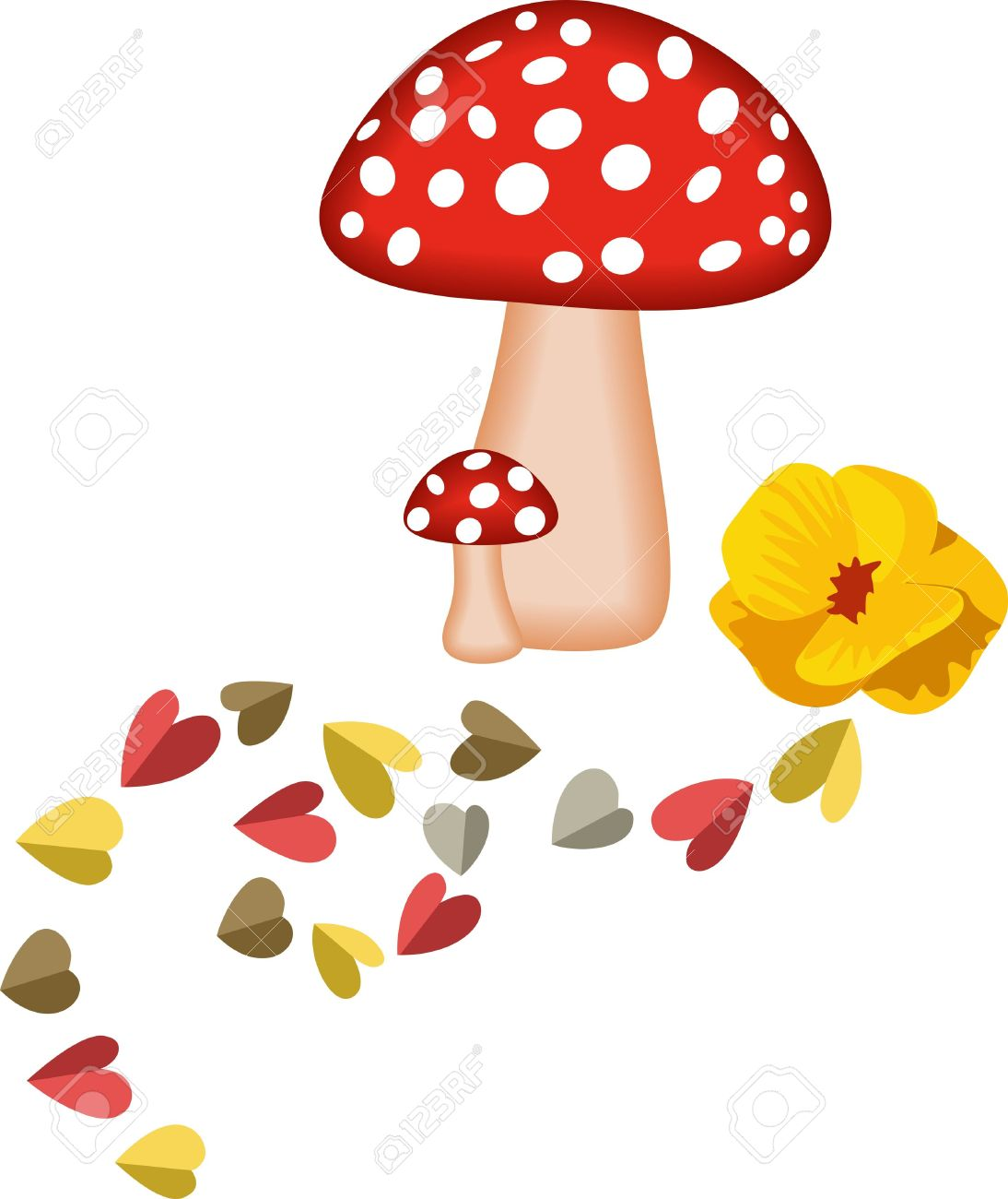 Magic Mushrooms And Hearts Royalty Free Cliparts, Vectors, And.