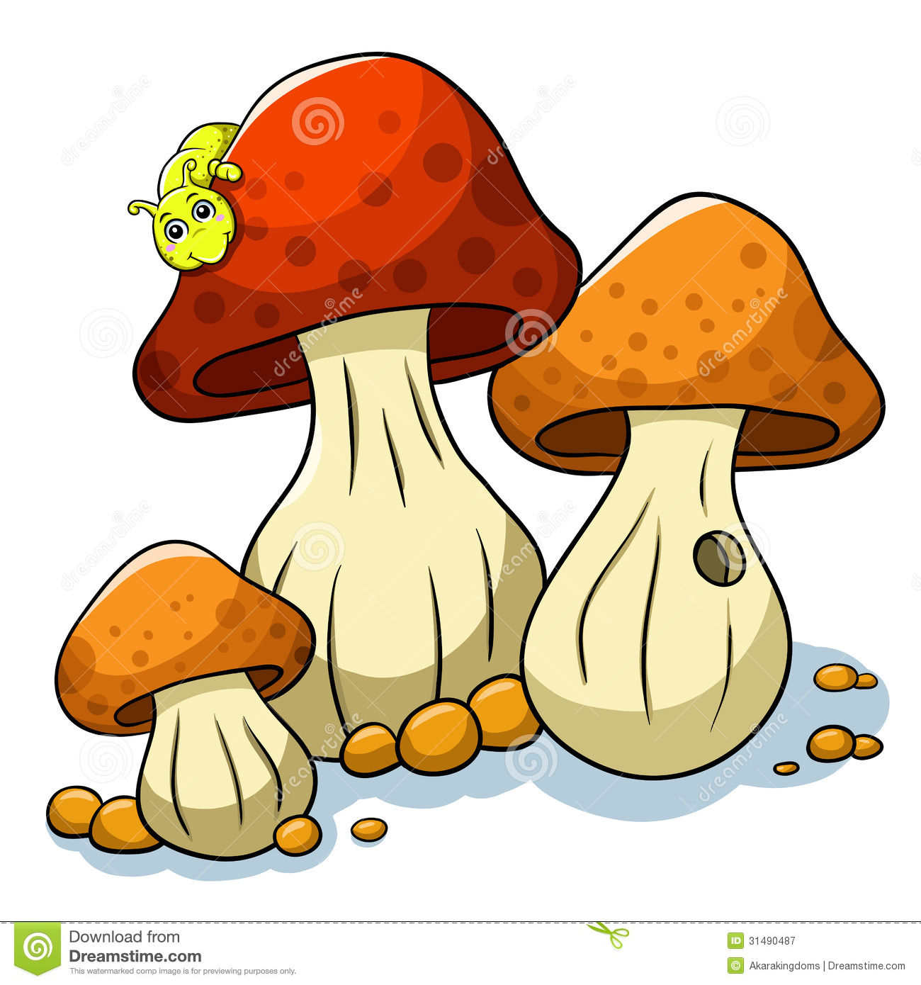 Mushroom And Caterpillar Royalty Free Stock Photography.