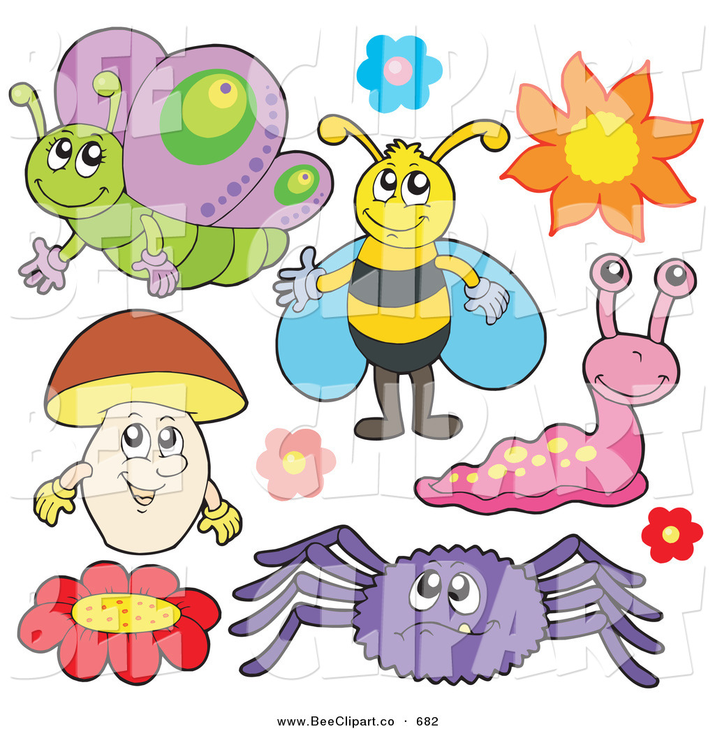 Vector Clip Art of a Digital Group of a Butterfly, Bee, Flowers.