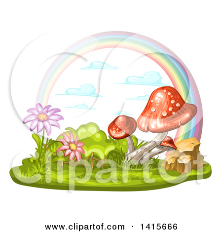 Clipart of a Group of Mushrooms and Rainbow.