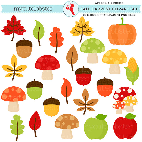 Fall Harvest Clipart Set clip art set of by mycutelobsterdesigns.