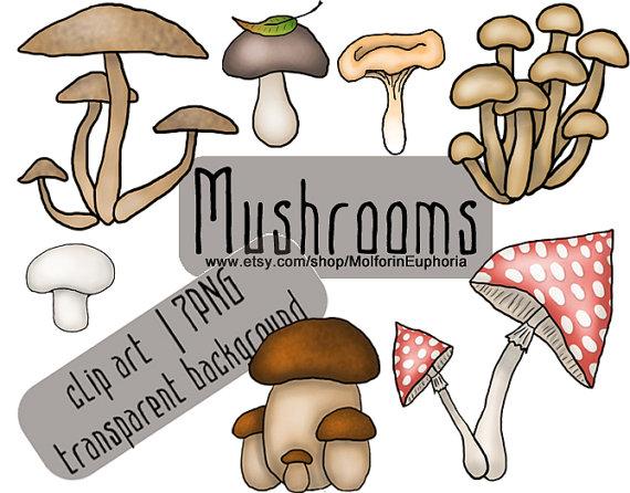 Mushrooms harvest clipart, Mushroom clip art, seasonal clipart.
