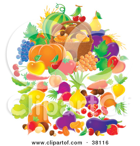 Clipart Illustration of Harvested Fruits And Veggies Surrounding A.