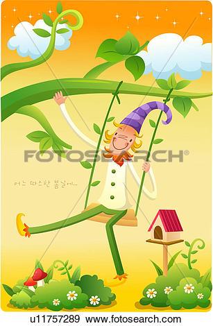 Stock Illustration of long hat, mushroom, flower, hat u11757289.