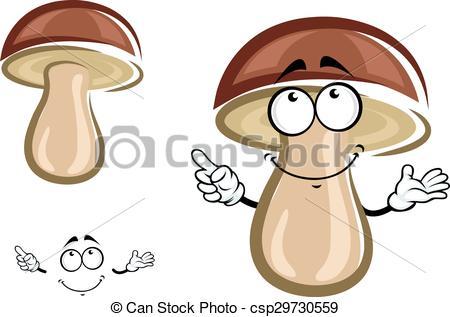 Clipart Vector of Cartoon birch mushroom with brown hat.