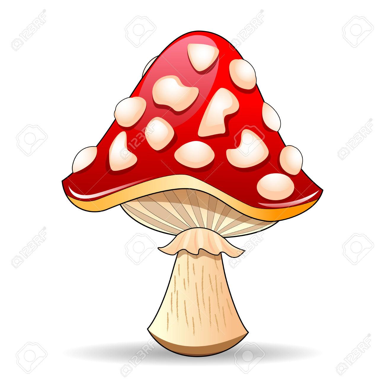 Mushroom Amanita. Spotted Red Mushroom On A White Background.