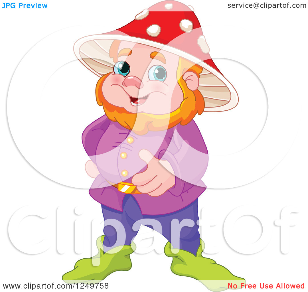 Clipart of a Happy Red Haired Male Gnome with a Mushroom Hat.