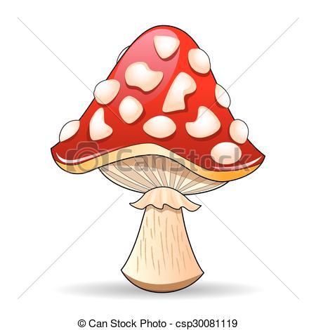 Vector Clip Art of Mushroom amanita. Spotted red mushroom on a.