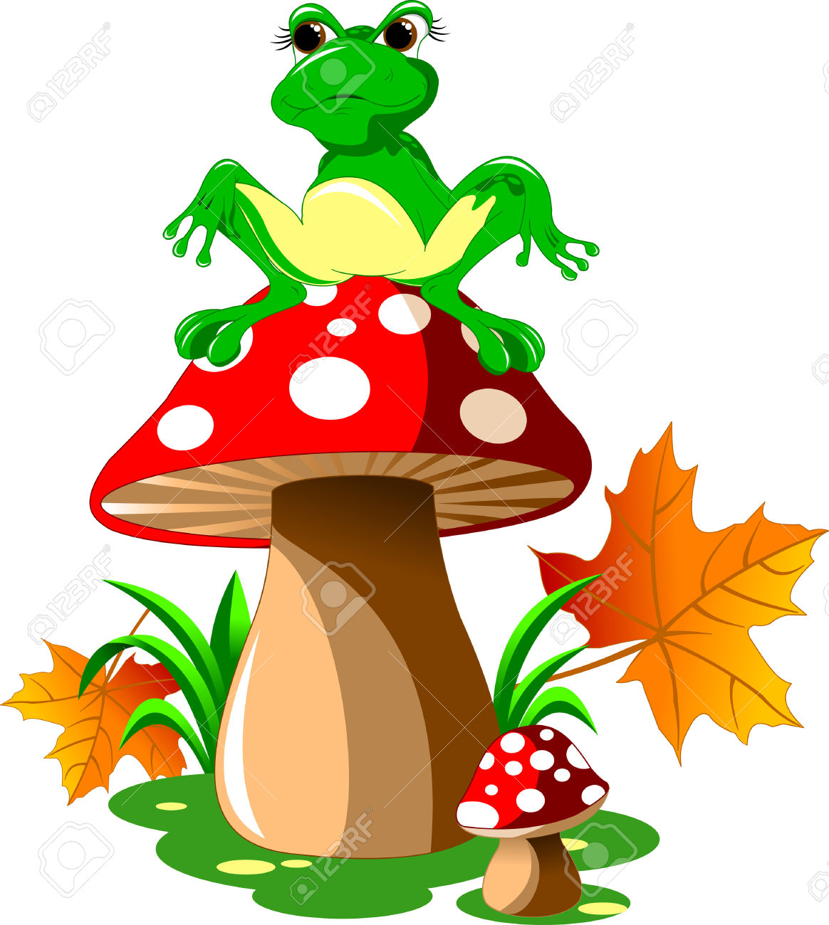 Green Frog Sitting On A Red Mushroom Hat, Vector Royalty Free.