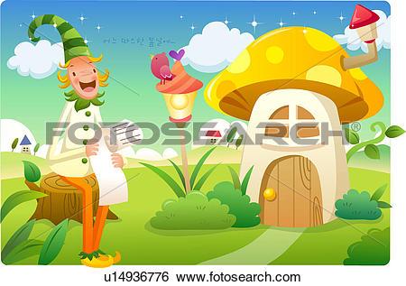 Stock Illustration of long hat, house, hill, mushroom house, hat.