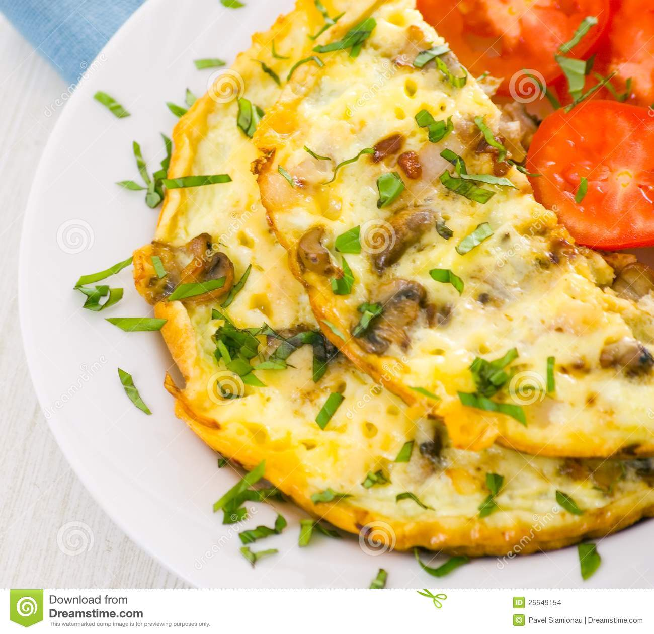 Omelet With Mushrooms Stock Images.