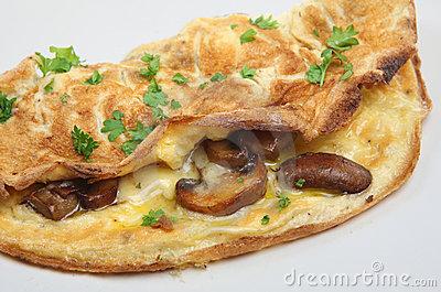 Mushroom Omelet Stock Photo.