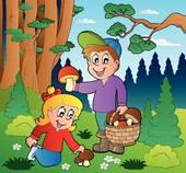 Clipart of Kids picking up mushrooms k6898082.
