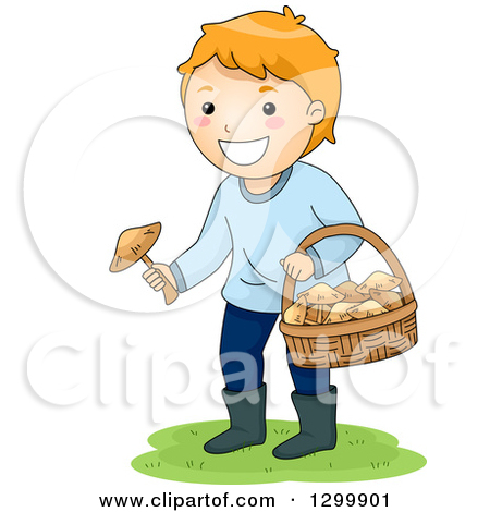 Clipart of a Red Haired White Boy Picking Wild Mushrooms.