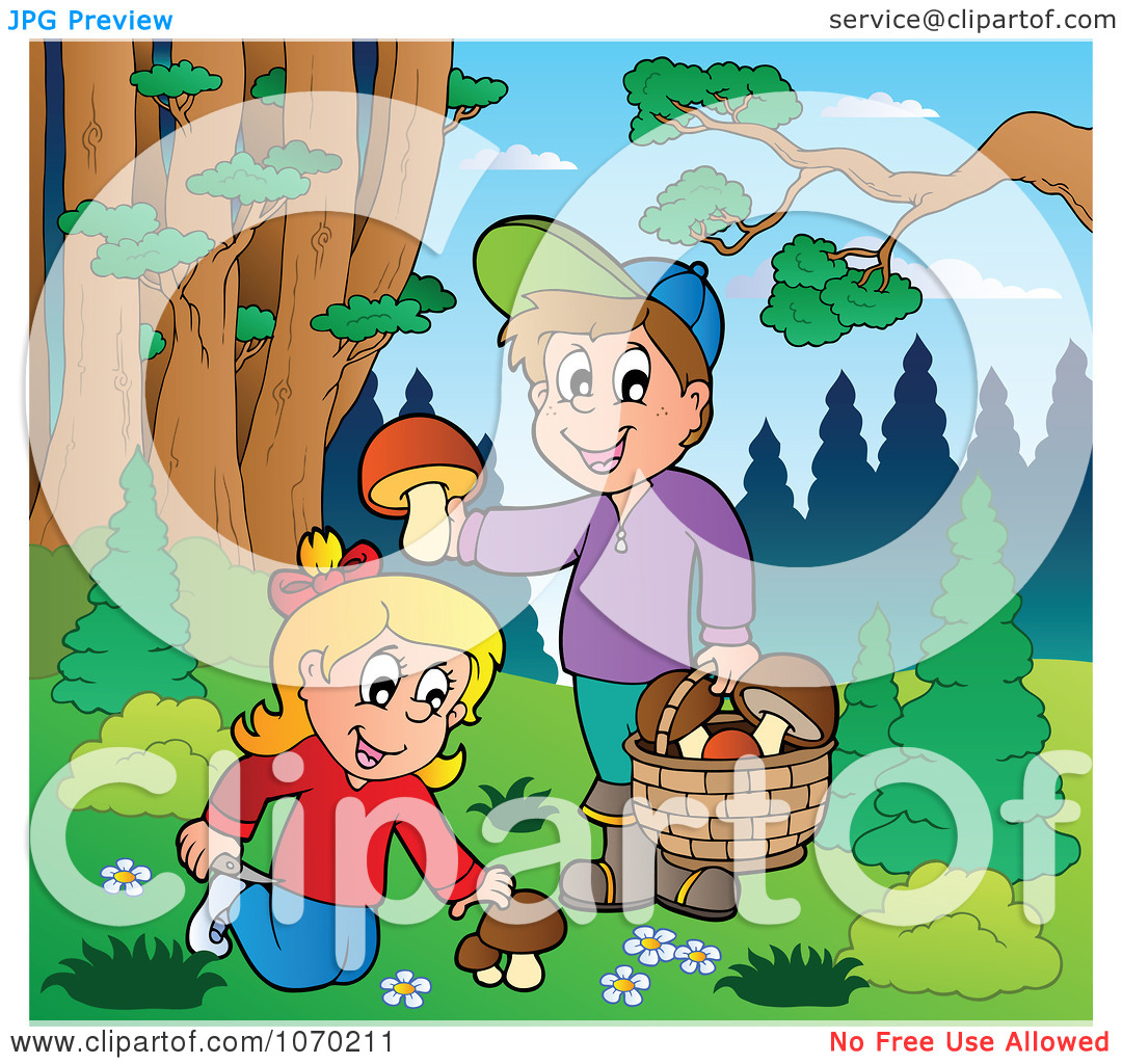 Clipart Children Picking Mushrooms Outdoors.