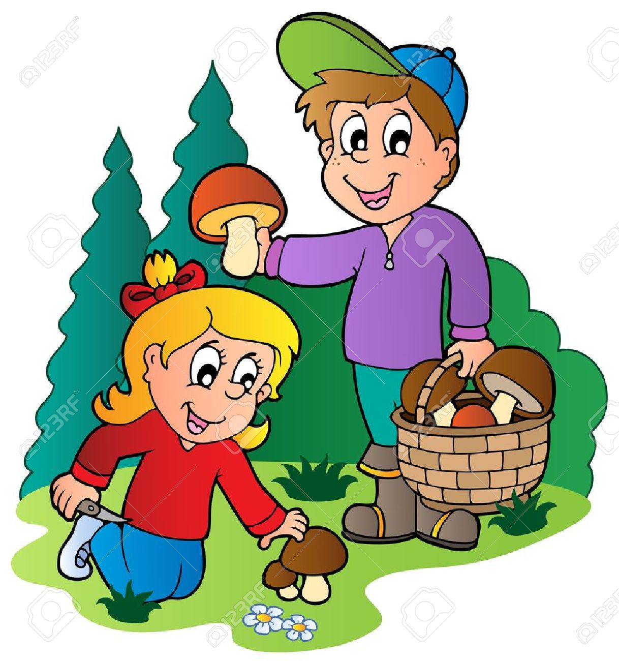 Mushroom Picking Stock Illustrations, Cliparts And Royalty Free.