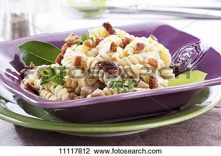 Stock Photo of Fusilli with mushroom sauce 11117812.