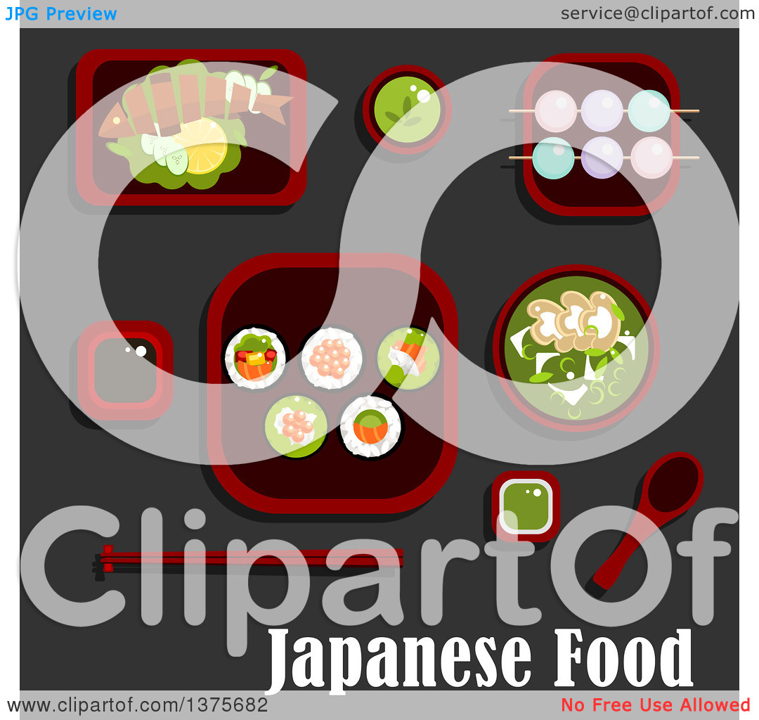 Clipart of a Flat Design Japanese Meal of Sushi Rolls and Salmon.