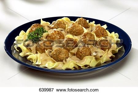 Picture of Meatballs with Egg Noodles and Mushroom Sauce 639987.
