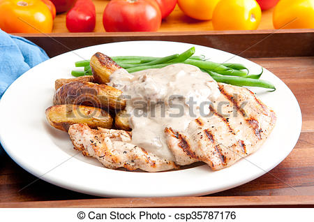 Picture of grilled chicken with mushroom sauce and fingerling.
