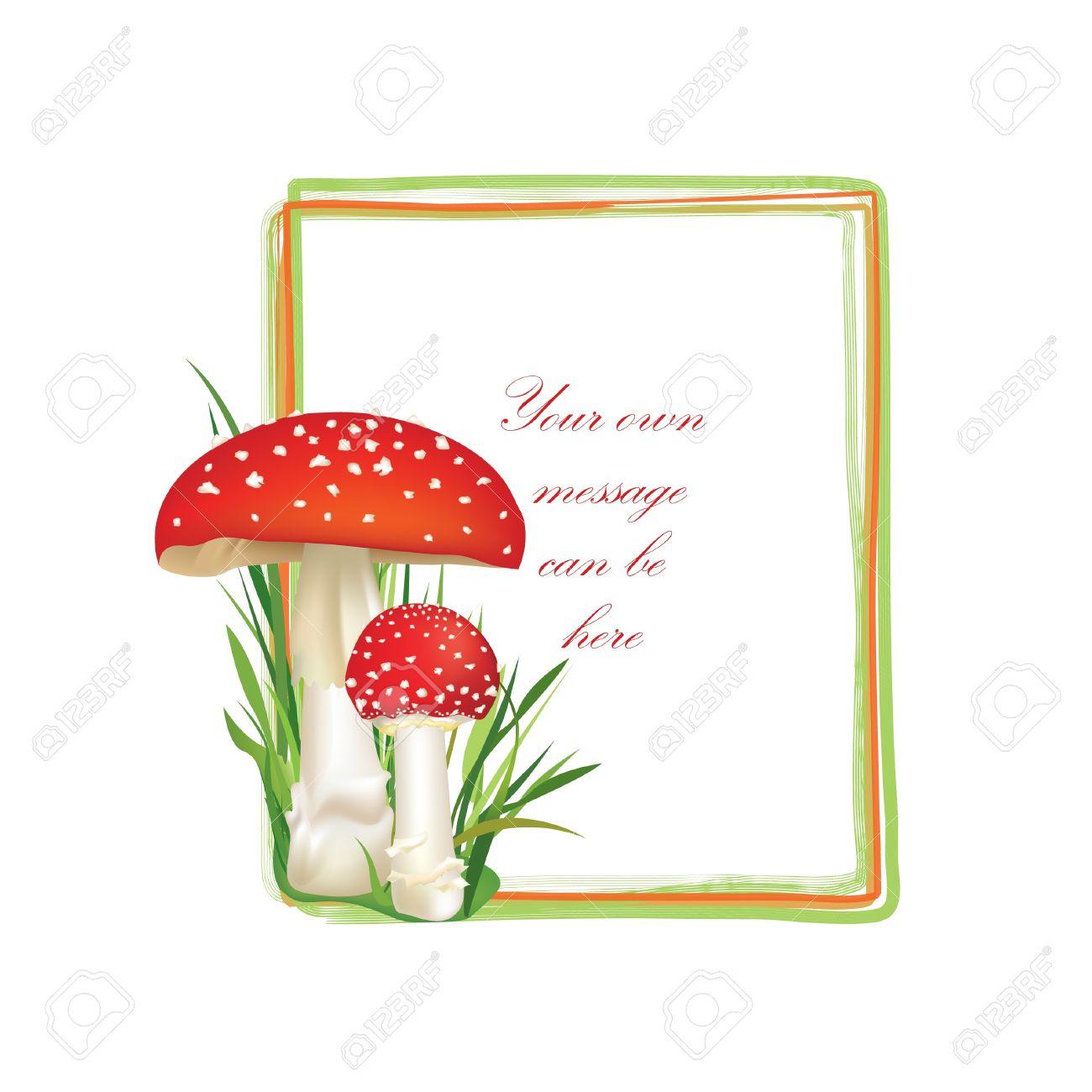Summer Forest Frame Rectangle Shape Red Poison Mushroom Isolated.