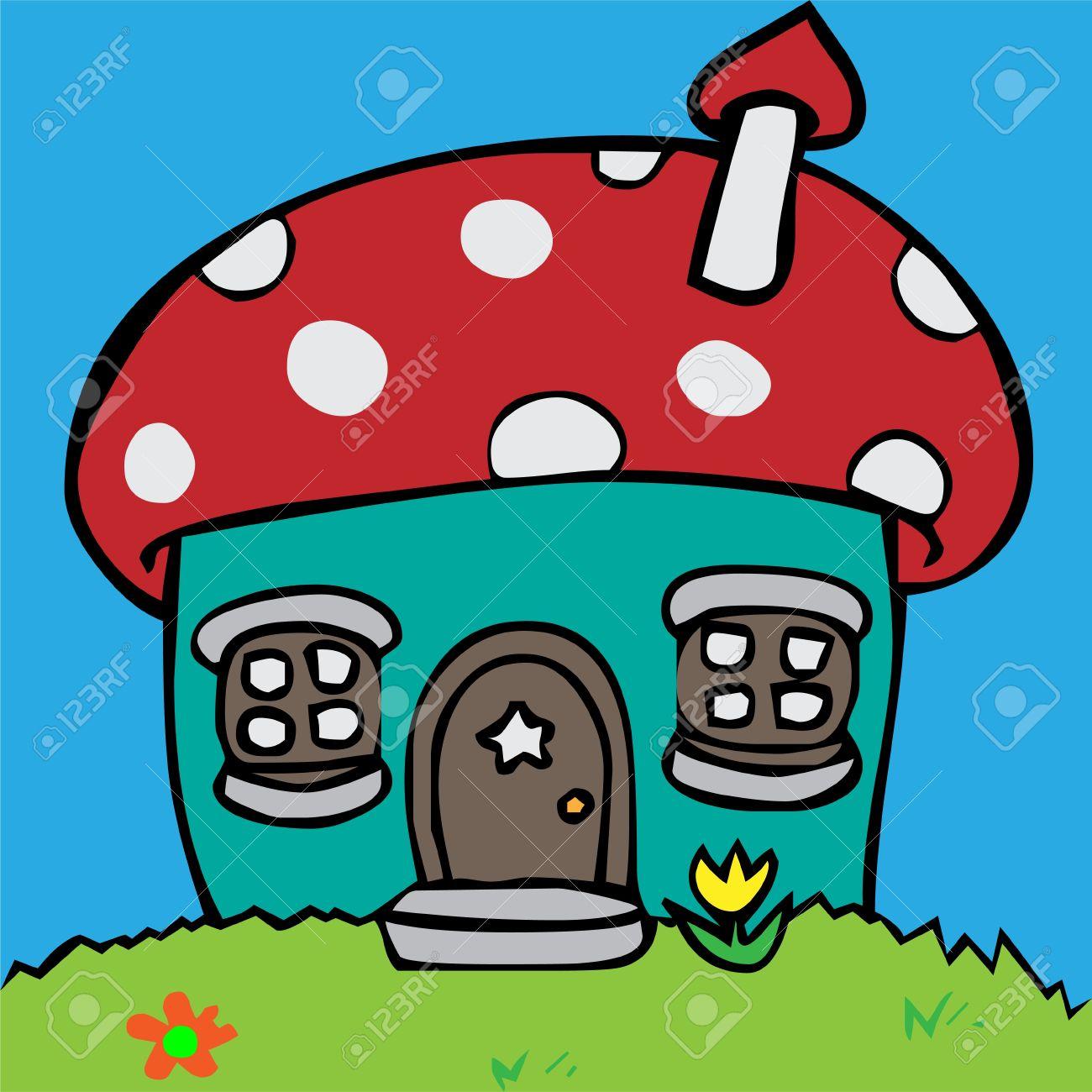 Cartoon Vector Illustration Of A House In Mushroom Shape Royalty.