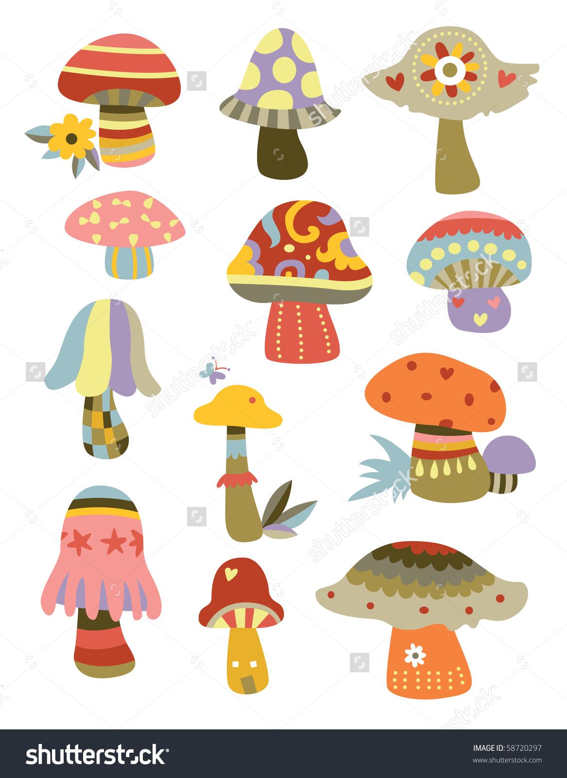 Set Cute Decorative Mushrooms Various Shapes Stock Vector 58720297.