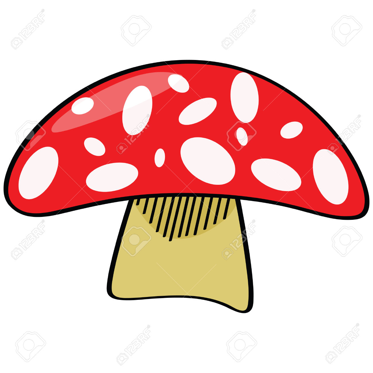 Cartoon Illustration Of A Red Mushroom With White Oval Shapes.