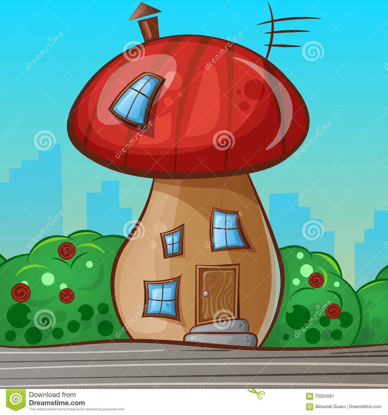 Cartoon House In The Shape Of The Mushroom. Stock Vector.