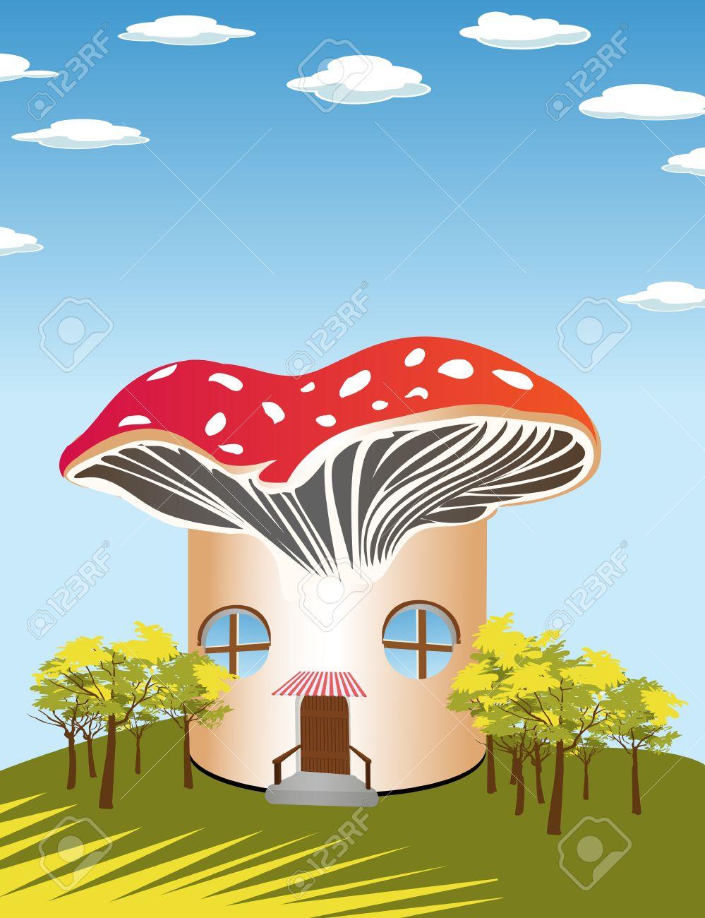 Fantasy Cartoon Background With A Mushroom Shape House Royalty.