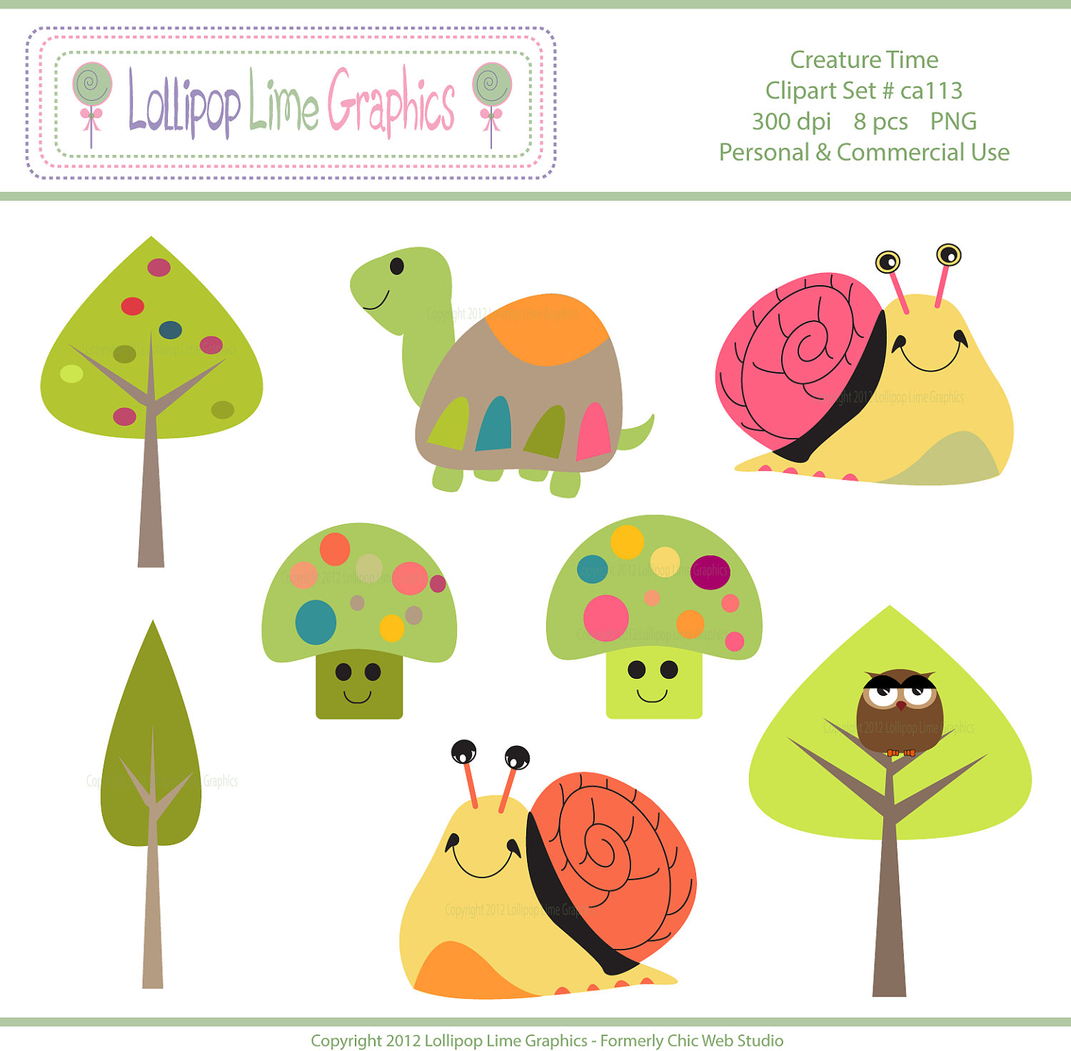 Cute Snail Turtle Tree Mushroom Owl Clipart Digital Clip Art.