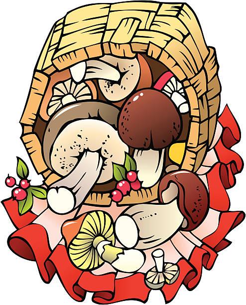 Mushrooms In A Wicker Basket Clip Art, Vector Images.
