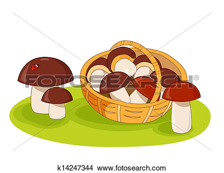 Clipart of Wicker basket with mushrooms k14247344.