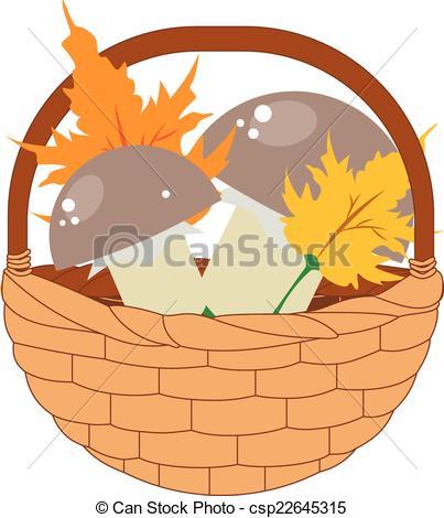 Vector Clip Art of Basket of Mushrooms.